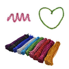 100pc Coloured Glitter Chenille Stems Pipe Sticks Cleaners For Art DIY Crafts FO