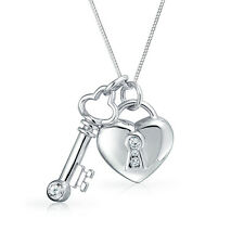 Bling Jewelry Sterling Silver Clear CZ Key And Lock Heart Pendant Necklace 17in