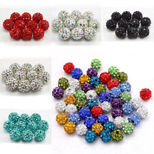 20PCS 8/10/12mm Multicolor Rhinestone Pave Disco Crystal Clay Loose Ball Bead