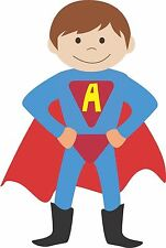 SUPER HERO boy custom initial wall art sticker personalised relocatable bedroom