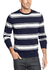 JOHN ASHFORD Cotton Crewneck Sweater Navy Blue and White Striped Pullover $50