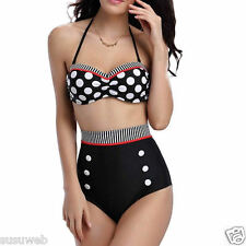 gigileer Women Vintage High Waist Retro Bikini Polka swimwear swimsuit Badeau UK