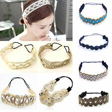 Classic Crystal Lace Elastic Headband Hairband Hair Band Head Wrap Accessories B