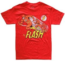 DC Comics The Flash Running Distressed Design Red Men's T-Shirt New