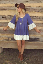 Womens Summer Casual Loose Lace 3/4 Sleeve Round Neck Pleated Short Mini Dress