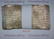 "3 metre Bundle of 70mm 2 3/4"" wide Gold Tinsel Mesh Wire Edge Ribbon R206"
