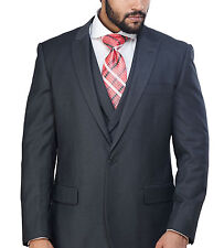 Steven Land Classic Fit Solid Gray One Button Three Piece Suit With Peak Lapels