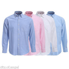 Men's Casual Formal Oxford Shirts Long Sleeve Business Wedding Dress Shirts Tops