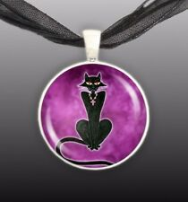 "Black Kitty Cat Wearing Cross Jewelry Art Painting Artwork 1"" Pendant Necklace"