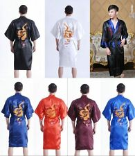 Hot~Chinese silk satin Men's Kimono Robe Gown Bathrobe Nightwear Sleepwear Gown!