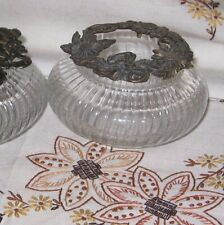 Potpourri Trinket Jar & Decorative Glass PC2949 Sunflower Antique Bronze Lid EUC
