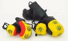 Mini Boxing Gloves Cannabis Rasta Leaf on Leather Style Car Mirror Accessories