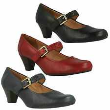 LADIES K BY CLARKS FEARNE DEW WIDE FIT LEATHER BLOCK HEEL MARY JANE COURT SHOES