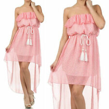 Dress S M L Sheer Chiffon Hi Low Hem Checkered Flounce Strapless Summer Pink New