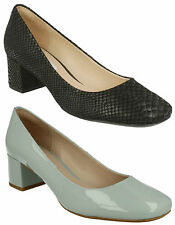 CHINABERRY GEM LADIES CLARKS SLIP ON SNAKE PRINT BLOCK HEEL PATENT COURT SHOES