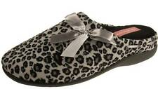 LADIES DUNLOP LEOPARD MULES SLIPPERS BLACK SILVER RIBBON DETAIL SIZE 3-8 NEW