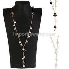 Fashion Korean Flowers Faux Pearl Long Necklace Sweater Chain Women Girl Gift