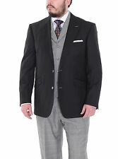 Pierre Noir Mens Solid Black Jacket Gray Plaid Vest And Pants Three Piece Suit