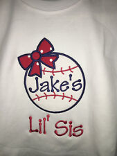 LIL SIS LITTLE SISTER PERSONALIZED BASEBALL EMBROIDERED BABY BODYSUIT