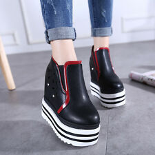 Womens High Platform Wedge Heels PU Leather Breathable Hole Slip On Shoes Heels