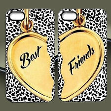 CUTE BFF Best Friends Phone Case, Leopard Hear Couple Cover For iPhone & Samsung