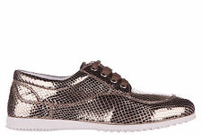 HOGAN WOMEN'S CLASSIC LEATHER LACE UP LACED FORMAL SHOES H258 DERBY GOLD 701