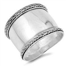 Sterling Silver 925 LADIES MENS HANDMADE BALI BRAIDED DESIGN RING 18MM SIZE5-12