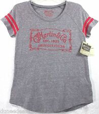 NWT Lucky Brand C.F. Martin & Co. America's Guitar Gray w/Striped Sleeve T-Shirt