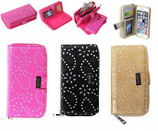 Zipper Magnetic Leather Removable Wallet Card Slot Case Cover For iPhone/Samsung