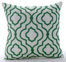 """Royal Missoni - 20""""x20"""" Art Silk White Throw Pillows Cover For Couch"""