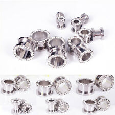 Rhinestone Screw Flesh Tunnel Ear Expander Stretcher Plug Piercing Gauge Earring
