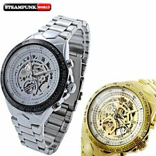 Stainless Steel Leather Skeleton Wrist Automatic Watch Mechanical Steampunk Mens