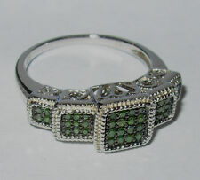 GENUINE GREEN DIAMOND BAND TIERED RING .25CTW RHODIUM STERLING SILVER