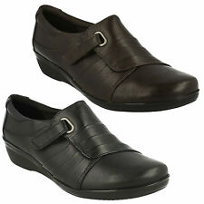 EVERLAY LUNA LADIES CLARKS LEATHER RIPTAPE WEDGE CASUAL TROUSER WORK SHOES