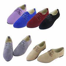 Ladies Flat Oxford Brogue Lace Up Pumps Womens Office Work Loafers Shoes Sizes