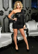 Leg Avenue 28084 Sequin Asymmetrical Long Sleeve Mini Club Dress