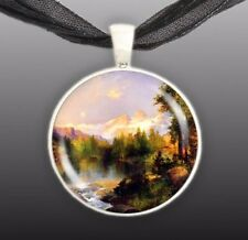 "The Three Tetons Mountains Wyoming Thomas Moran Art Painting 1"" Pendant Necklace"