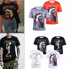 Red God Wants You Yeezy Yeezus Indian Skull T-Shirt Black Gray Kanye West Tops