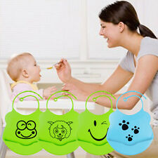 1pc Cute Infant Baby Kid Washable Silicone Feeding Bib Cartoon Patterns Bib USA