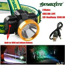 3500LM CREE XPE LED Headlamp Headlight 1800mAh Rechargeable USB Head Light Lamp