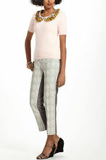 Anthropologie Spliced Jacquard Slims Sz 4, Silver Gray Pants Trousers Elevenses