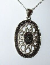 "1-1/2"" BLACK & WHITE DIAMOND VINTAGE STYLE PENDANT NECKLACE RHODIUM STERLING"