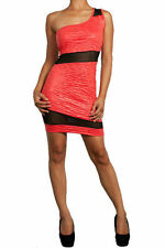 Dress Sexy Coral Floral Embossed One Shoulder Mesh See Thru Mini Stretch New