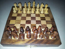 "7"" Inches Magnet Portable Handmade Folding Wooden Chess Set Game Board-Gift item"