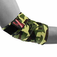 HEAVY ELBOW SLEEVES SUPPORT WRAPS GYM POWER WEIGHT LIFTING STRAP GREEN CAMO PAIR