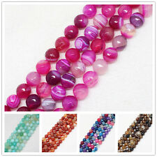 """10mm Multi-color Faceted Stripe Agate Round Loose Beads 14.5"""""""