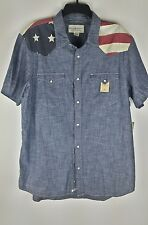Denim & Supply Ralph Lauren Men American US Flag Inspired Western Shirt M L XL