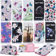 For Various iPhone Phones Case PU Leather Patterned Protective Stand Cover Skin