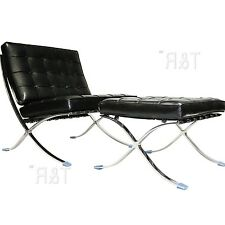 Barcelona Style Modern Pavilion Chair and Ottoman Black Imported Genuine Leather