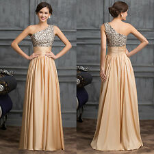 1 SHOULDER Long SEQUINS Formal Evening Party Gown Prom Wedding Bridesmaid Dress